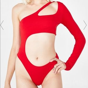 Red cut out body suit XS